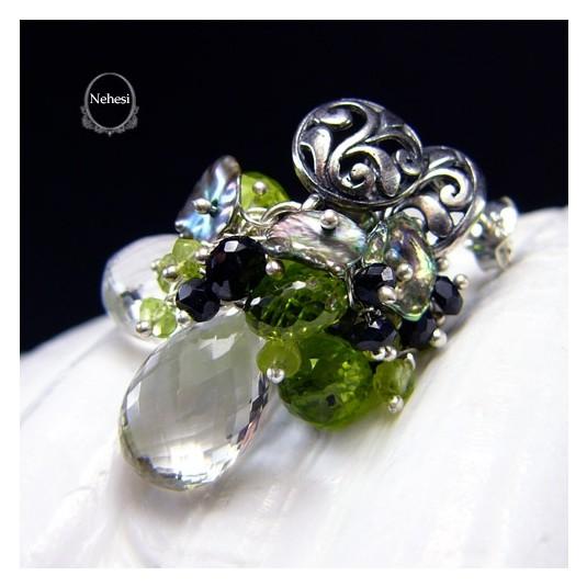 Kolczyki Spring - Kwarc Crystal Peridot