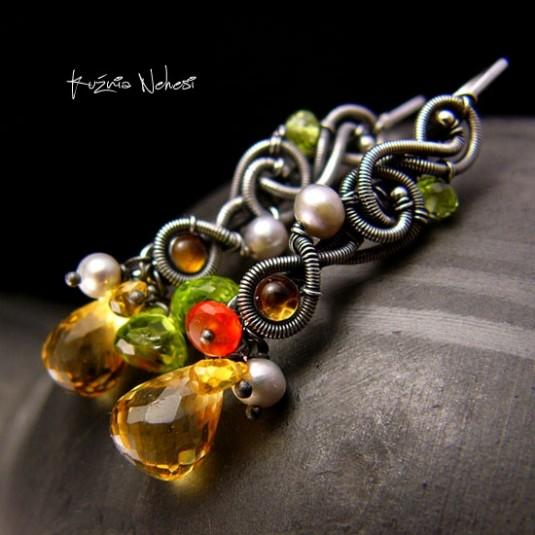 Kolczyki Dragonki Honey – Cytryn Szafir Szmaragd Karneol Perła Srebro