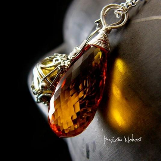 Naszyjnik Przywoływacz Aniołów – Cytryn Topaz Srebro