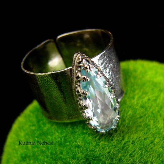 Pierścień Blue – Gaia - Topaz Baby Blue Srebro