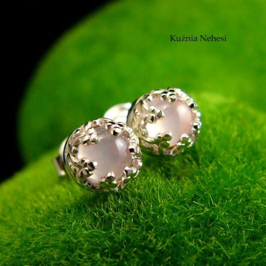 Kolczyki Sztyfty Lea – Różowy Kwarc Srebro
