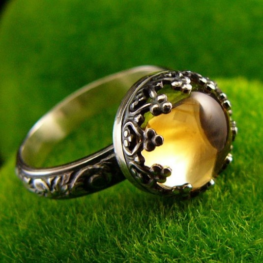 Pierścień Elf - Cytryn Srebro vol.I