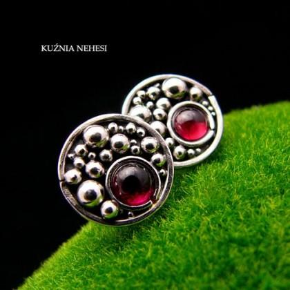 Kolczyki Cherry Bubble - Granat Srebro