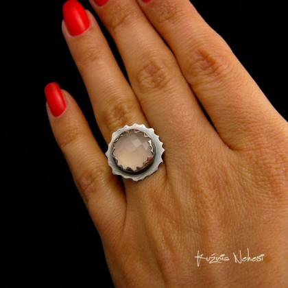 Pierścień – Rose Quartz - Kwarc Srebro