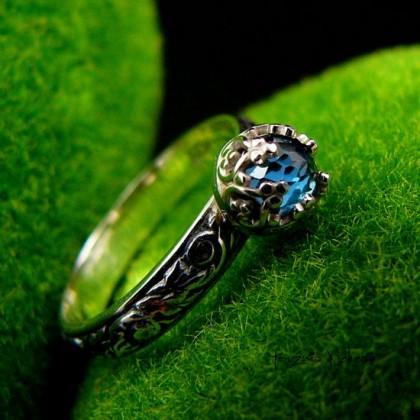 Pierścień Elf – Eris - Topaz London Blue Srebro