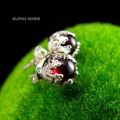 Kolczyki – Lea – Mini – Granat Srebro