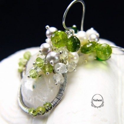 Kolczyki Spring – Kwarc Turmalin Moonstone Perły