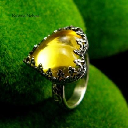 Pierścień Elf - Serce - Bursztyn Srebro