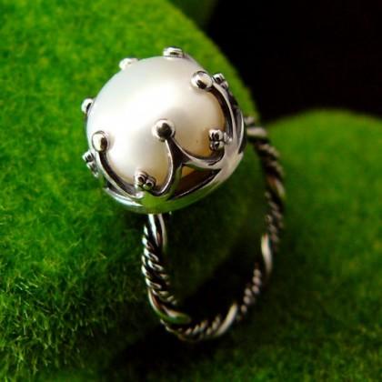 Pierścień Elfi  - Perła Srebro
