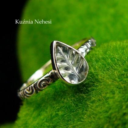 Pierścień ze Srebra - Elfik z Turmalinem Niebieskim