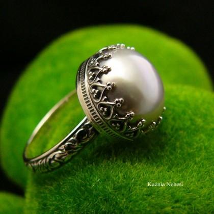 Pierścień Elf - Perła Platynowa Srebro
