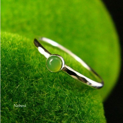 Pierścień Drobinek - Chryzopraz Srebro