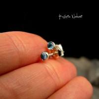 Kolczyki Drobinki Sztyfty - Topaz Swiss Blue Srebro
