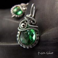 Kolczyki Dragony - Kwarc Light Green Srebro
