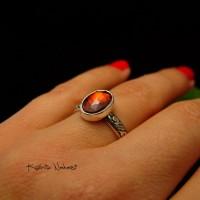 Pierścień ze Srebra - Elf z Granatem Srebro