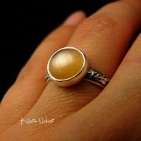 Pierścień Pearl Moon – Srebro Moonstone