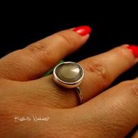 Pierścień Moon - Kamień Księżycowy Srebro