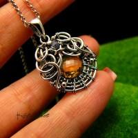 Naszyjnik Sun - Cytryn Srebro - Wire Wrapping