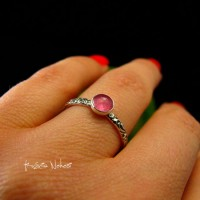 Pierścień ze Srebra - Elfik z Turmalinem Pink