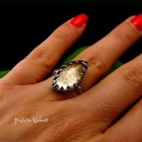 Pierścień ze Srebra - Elf z Kwarcem Rutylowym