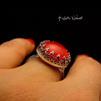 Pierścień ze Srebra - Elf z Karneolem
