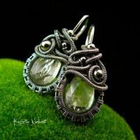 Kolczyki Dragony - Ametyst Zielony Srebro