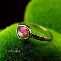 Pierścień ze Srebra - Elfik z Turmalinem Arbuzowym
