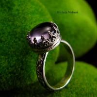 Pierścień Elf - Różowy Ametyst Srebro