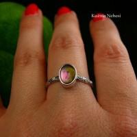 Pierścień ze Srebra - Elfik z Turmalinem Arbuzowym II