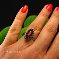 Pierścień Elf - Granat Almandyn Srebro