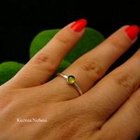 Pierścień Drobinek - Srebro Zielony Turmalin Verdelit