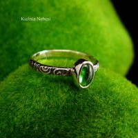 Pierścień ze Srebra - Elfik z Turmalinem Zielonym zwanym Verdelit