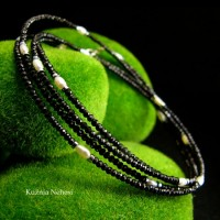 Długi naszyjnik Black - Spinel Perły Hematyt Srebro