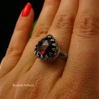 Pierścień Elf - Granat Almandyn Srebro Serce