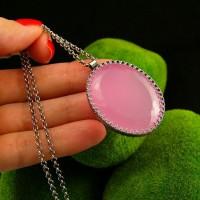 Naszyjnik  Soft Pink - Różowy Opal Srebro