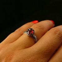 Pierścień Elf Eris - Granat Almandyn Srebro
