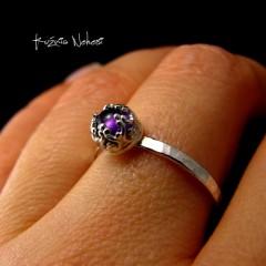 Pierścień - Drobinek - Ametyst Srebro