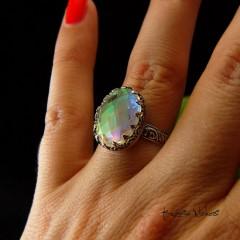 Pierścień Elf - Kwarc Rainbow Srebro