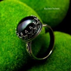 Pierścień Elf - Czarna Perła Srebro