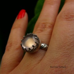 Pierścień Elf - Różowy Kwarc Srebro