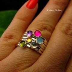 Pierścień Drobinek - Agat Srebro ~