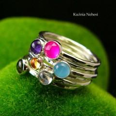 Pierścień Drobinek - Ametyst Srebro