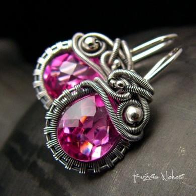 Kolczyki Dragony - Kwarc Pink Srebro