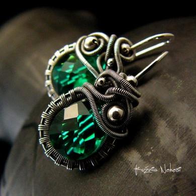 Kolczyki Dragony - Szmaragdowy Kwarc Srebro