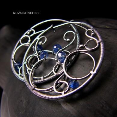 Kolczyki Koła – Srebro Kyanit