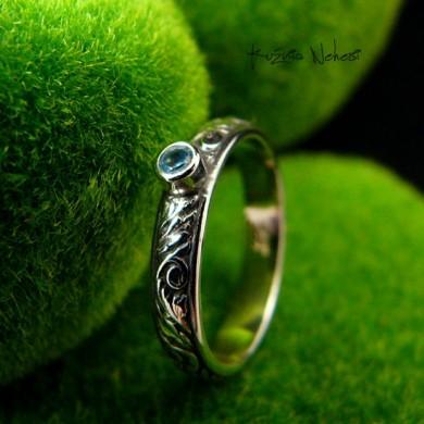 Pierścień Elf z Topazem Sky Blue - Topaz Srebro