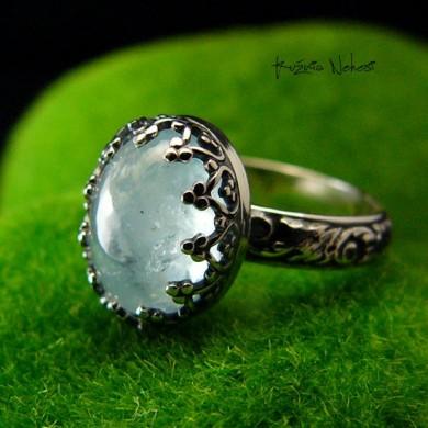 Pierścień ze Srebra - Elf z Akwamarynem I