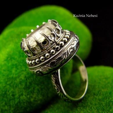 Pierścień Elf - Kryształ Górski Srebro vol1