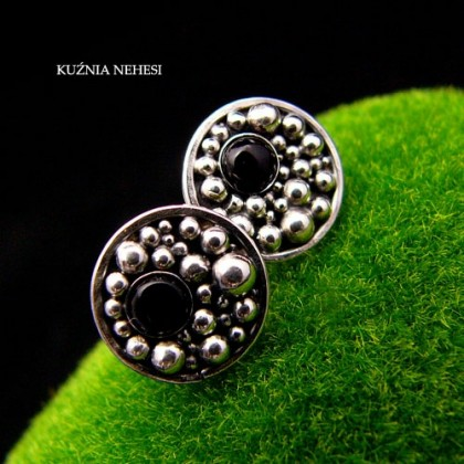Kolczyki Black Bubble - Onyks Srebro
