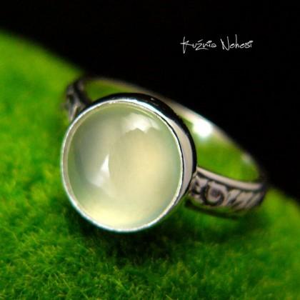 Pierścień – Mięta - Srebro Prehnit